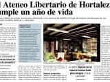 El Ateneo Libertario de Hortaleza en el periódico vecinal delbarrio.